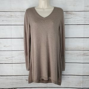 Apt 9   Taupe V-Neck Long Sleeve Sweater Tunic Top